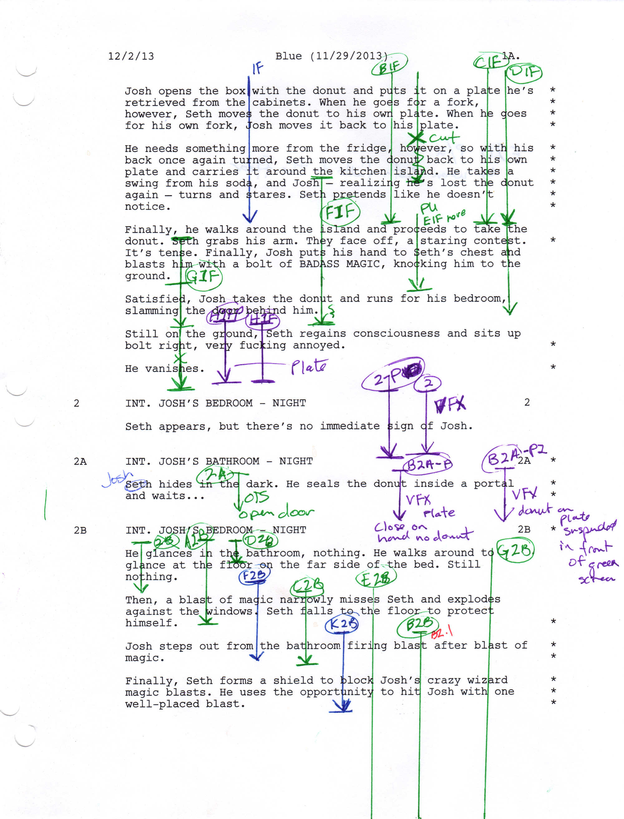 Script planning for the short film Roommates - a lined script